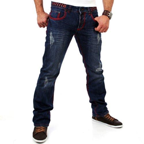 Tazzio Pantalones vaqueros TZ-5143 para hombre, color azul azul 29W x 34L (Ropa)