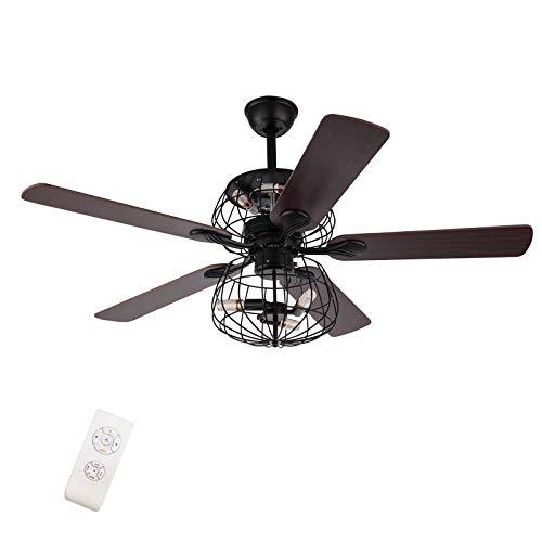 52' Ventilador de techo de palma,Con mando a distancia de 3 marchas,5 luces,5 palm,Ventiladores de techo tropical,Función inversa,Juego de 3 velocidades,Totalmente silencioso,Bombilla E14x6