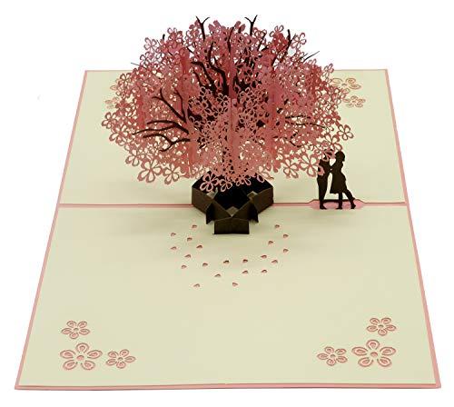 Smiling Art Pop Up 3D Karten, Glückwunschkarten inklusive Umschlag und Schutzhülle, Geschenkkarte für Gutschein, Einladungskarte, Geburtstagkarte (Liebe/Hochzeit, Sakura-Baum)