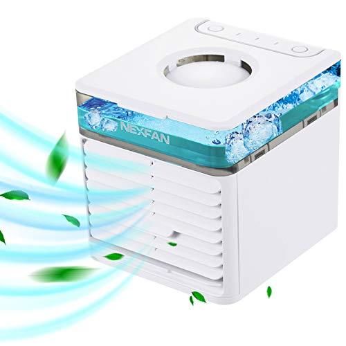 XFTOPSE Ar Condicionado Portátil, Mini Ventilador de Ar Condicionado Evaporativo de Mesa 3 Velocidades com 7 Cores de Luz LED, Unidade AC de Acampamento, Ventilador Pessoal de Nebulização para Quarto Pequeno, Carro, Escritório, Dormitório
