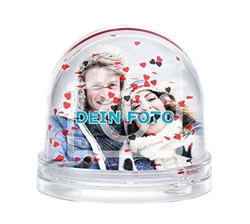 Glitzerkugel mit eigenem Foto gestalten (Schneekugel mit individuellem Bild Bedruckt; per Thermo-Sublimationsdruck, aus Acrylglas, Valentinstag) (rote Glitzer-Herzen)