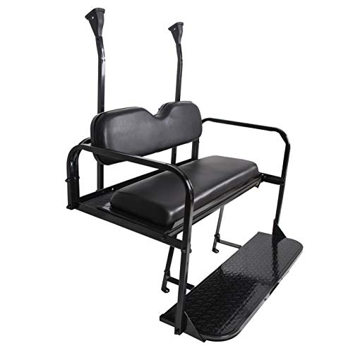 ECOTRIC Golf Cart Flip Rear Black Seat Kit Fold Down Back Seat for 2004 and Up Club Car Precedent Gas or Electric Models - You Will Receive Two Packages