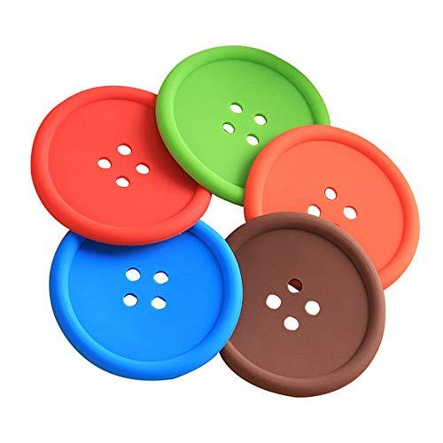 Sottobicchiere in silicone, 10 pezzi rotondo a forma di bottone, tappetino da caffè con fondo scanalato e antiscivolo tovaglietta