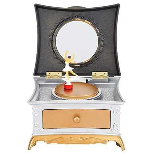 Earthily Caja de música Chica Dancing Girl Music Box Joyry Jewelry Caja de Almacenamiento Regalo Adorno de la casa Decoración con cajón Extensible (Color : #1)