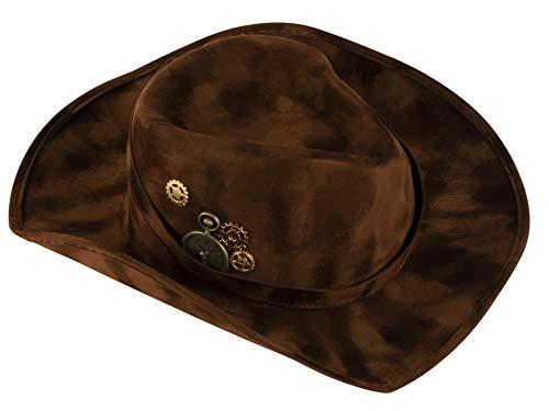 Blue Panda Felt Cowboy Hat, Steampunk Design (Adult Size, Dark Brown)