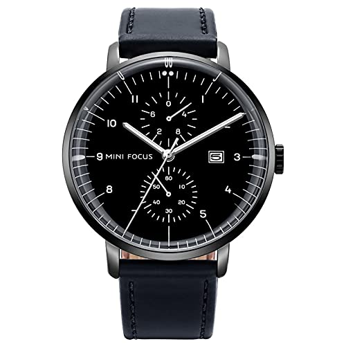 JTTM Moda Reloj De Cuarzo Analógico para Hombre Calendario Multifunción Impermeable Cronógrafo Manos Luminosas Correa De Cuero Relojes para Hombre,Negro
