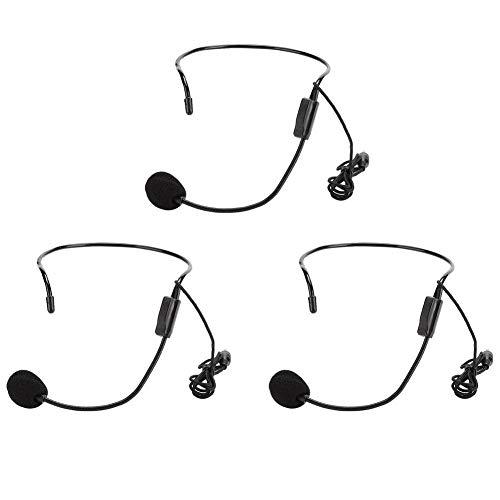 Microfoon voor hoofdtelefoon, 3-delige condensatormicrofoon met 3,5 mm kabel voor conferenties, onderwijs, toespraken, begeleiding enz.