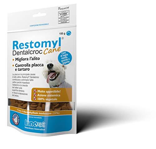 Innovet Restomyl Dentalcroc, Migliora l'alito. Controlla placca e tartaro dei cani - Confezione con busta da 150 g