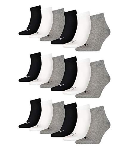 18 Paar Puma Unisex Quarter Socken Sneaker Gr. 35 - 49 für Damen Herren Füßlinge, Farbe:882 - grey/white/black, Socken und Strümpfe:39-42