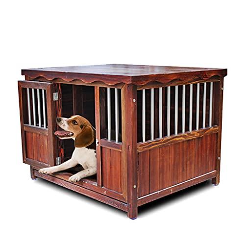 TYX Casetas Perros Exteriores Resistente Agua, Prueba Viento Casa Perros Refugio Perros Madera Perreras Perros, para Jardín Interior Pequeño Mediano,100×80×80cm
