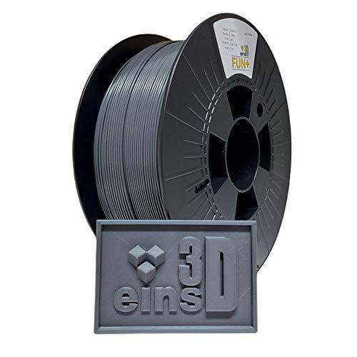 PLA Fun+ eins3D, Filament für den 3D Druck, 1.75mm Durchmesser, 1 kg Rolle, EU Ware - Grau (grau)