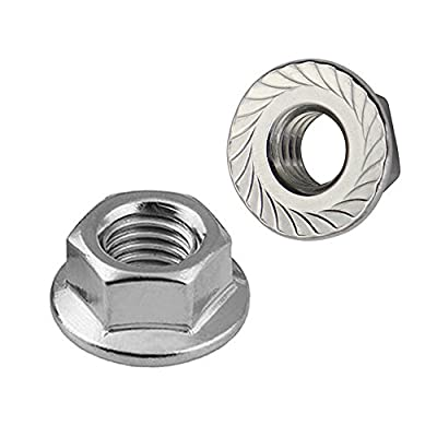 5/16-18 Serrated Flange Hex Lock Nuts, Stainless Steel 304, Bright Finish, 50 PCS