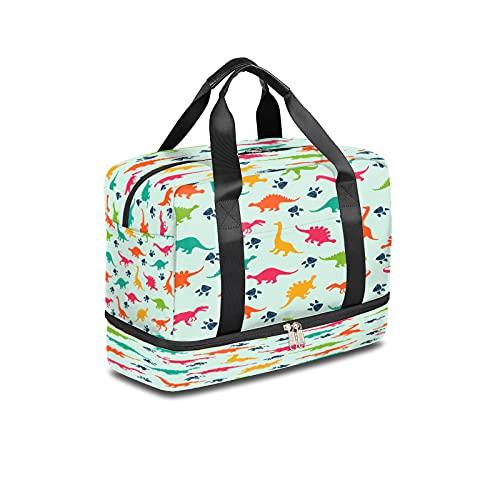 BOLOL - Bolsa de viaje con dinosaurios con diseño de dinosaurios, bolsa de deporte para el gimnasio, bolsa de viaje para hombre y mujer
