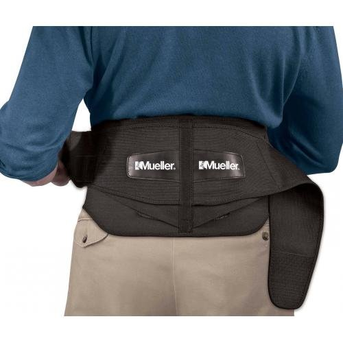 Mueller 64179 Adjustable Back Brace with Removable Pad Fits Waist Size Plus (50'-70' waist), Black