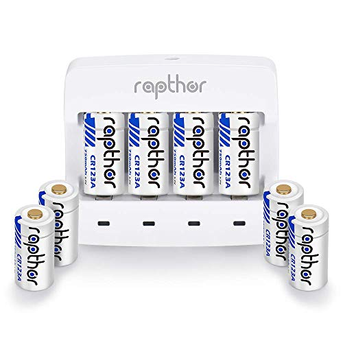Rapthor 3.7V CR123A Lithium Batteries [750mAh 8pack Set] for Arlo Camera (VMC3030/VMK3200/VMS3230/3330/3430/3530), Flashlight, Microphone [Can be Recharged]