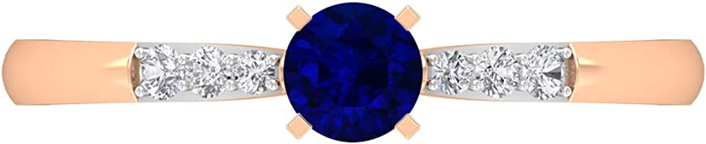 0.34 Lab Created Blue Sapphire Solitaire Ring, HI-SI Diamond Gold Ring, Gold 2 Tone Engagement Ring (AAAA Quality), 14K Gold