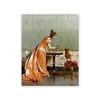 犬と遊ぶ女性ポスターとプリントヴィンテージ美的キャンバス絵画リビングルームの装飾写真のための古典的な壁の芸術50x70cmx1フレームなし