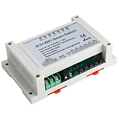 4 Channel WiFi Relay Switch with Remote Control, AC90-250V and DC7-36V,Compatible with Alexa,NC NO COM Output