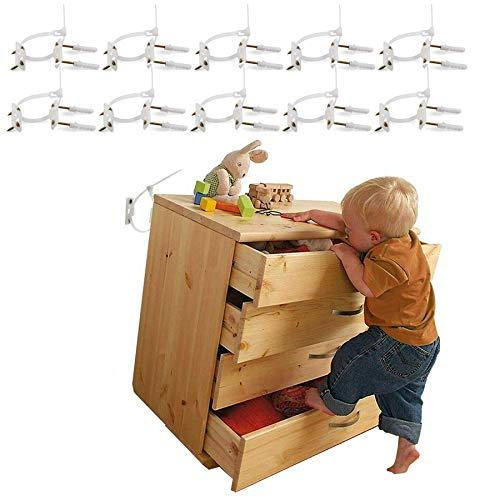 Möbelgurte (10 Stück) Baby Proofing Anti-Kipp-Möbelanker Kit, Schrank-Wandanker schützen Kleinkind Haustier für fallende Möbel, verstellbare Kindersicherung, Nylon-Gurte