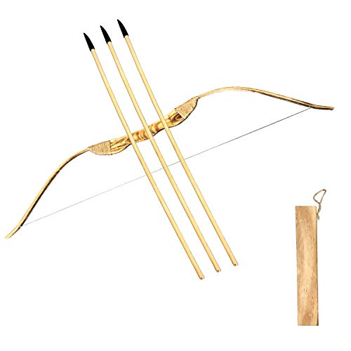 MAYMII Kids Children Child Train Play Bamboo & Wood Wooden Bow Toy and Arrow & Quiver Archery Set Kit of 3 Safe Security Arrows