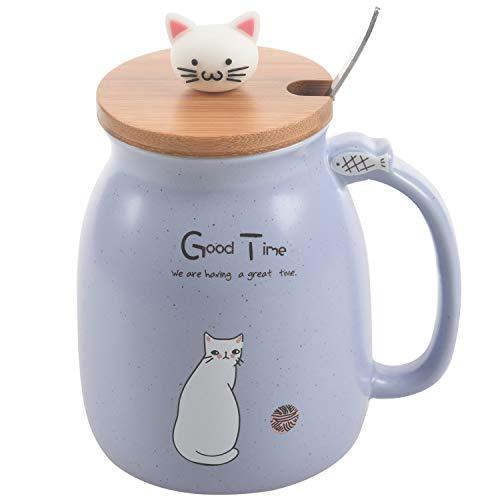 Sonline Neue sesam Katze hitzebestaendige Tasse Farbe Cartoon mit Deckel kaetzchen Milch Kaffee Keramik Becher Kinder Cup buero Geschenke (blau)