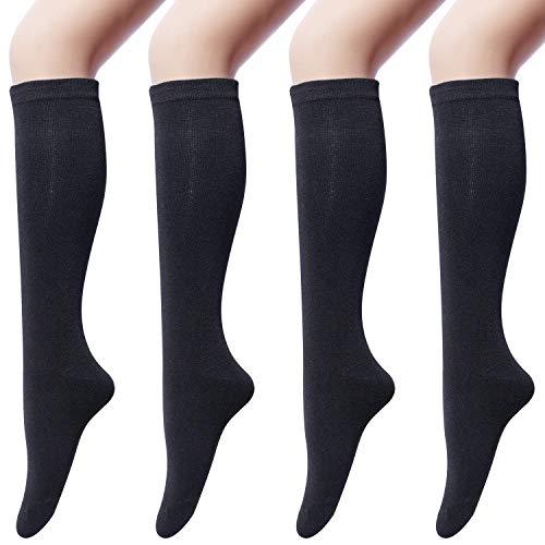 4 paia Calzettoni Donna in Cotone Calze Gambaletto, Calzini Lunghi Donna, Calzini Gambaletti di Coscia Retro Casual Socks