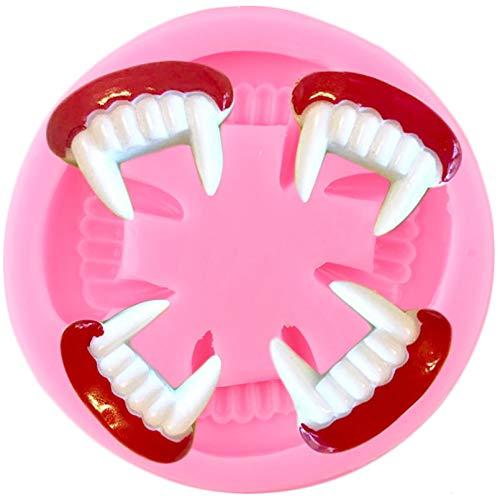 CSCZL Molde de Silicona para Halloween con Dientes de Vampiro 3D, Herramientas para decoración de Pasteles con Fondant, moldes de Pasta de Goma de Chocolate y Arcilla de Caramelo