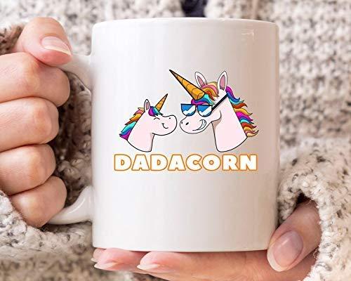 N\A Taza Dadadcorn Taza de café Divertida del papá del Unicornio para el día del Padre Taza mágica Linda del papá del Unicornio Idea para el Mejor papá y el papá