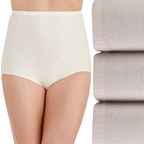 Vanity Fair Women's Underwear Perfectly Yours Traditional Cotton Brief Panties, Fawn Multi (3 Pack), 7