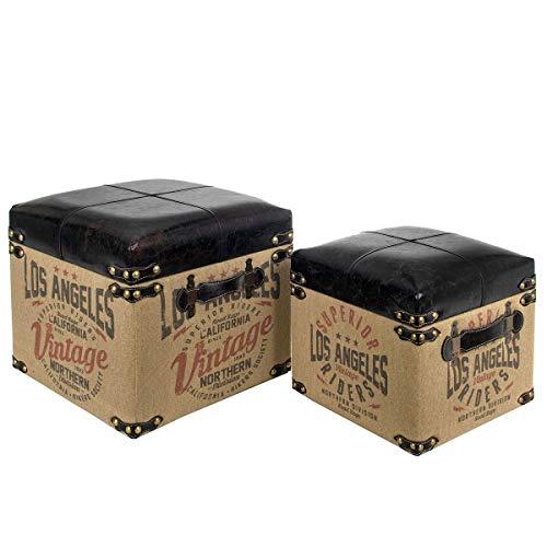 Set de 2 Taburetes-Baúles Decorativos de Madera y Rafia 'Los Ángeles'. Sillas y Sillones. Puffs. Cajas Multiusos.Decoración Hogar. Regalos Originales. Muebles Auxiliares. 38 x 38 x 36 cm.