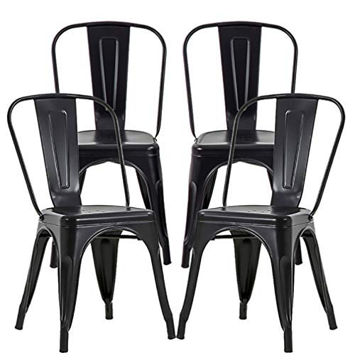 Metal Dining Chairs Set of 4 Metal Chairs Patio Chair 18 Inches Seat Height Dining Room Kitchen Chair Tolix Restaurant Chairs Bar Stackable Chair Trattoria Metal Indoor Outdoor Chairs
