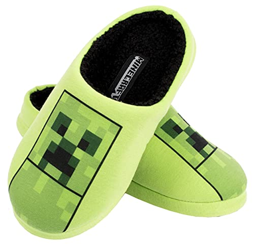 Minecraft - Pantofole bambino - Minecraft Pantofole per Ragazzi - Minecraft Pantofole Creeper - Vestiti Minecraft - Pantofole per Ragazzi misura UK 1 / EUR 33 / Età 8 anni
