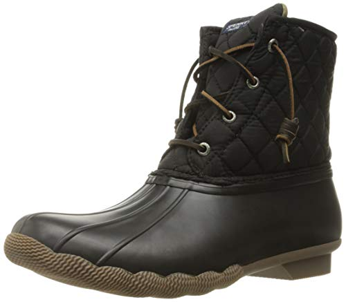 Sperry Womens Saltwater Boots, Black Quilted Nylon, 8.5