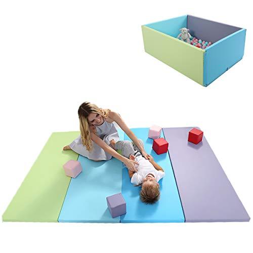 Babify Parque de Bebés Convertible Soft - Color azul/verde/morado