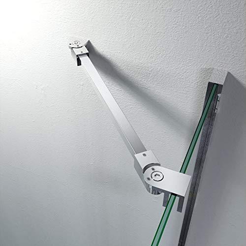 Stabilisator Haltestange Edelstahl Winkel flexibel einstellbar Wandmontage für Glasstärken 6-10 mm Duschabtrennung Duschkabine GS11375
