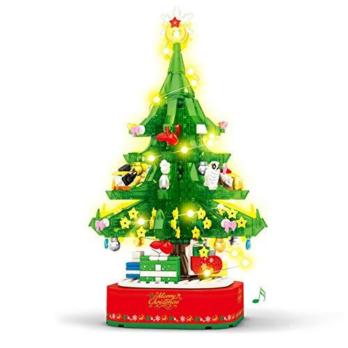 TARTIERY Árbol de Navidad giratorio caja de música DIY creativo miniatura adornos árbol de Navidad con colgante adornos caja de música ensamblado bloque de construcción juguete educativo