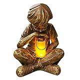 LED Adorno para Jardin al Aire Libre Vistazos de la Estatua del Niño Creativo Estatua de Prodigio Decoración de Jardín Resina Artesanía