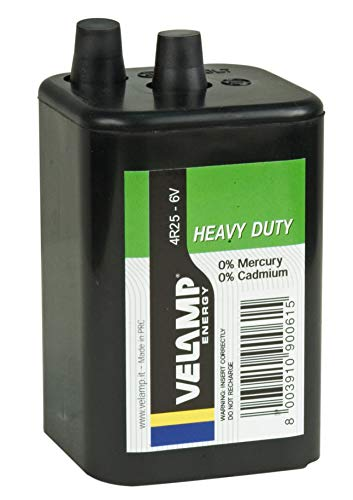 VELAMP Pila Quadra 4R25 Zinco Carbone, 6V. per torce, lampeggiatori stradali, bricolage. Corpo in ABS Iper Resistente, Nero
