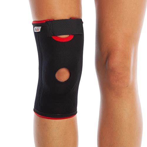 Supporto per rotula del ginocchio - tutore dotato di apertura sulla rotula, con cinturino in neoprene - protezione regolabile (S)