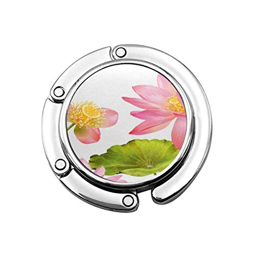 Faltbare Handtasche Kleiderbügel Geldbörse Haken, Botanical Pink Lotus Flowers Naturkosmetik Gesundheitswesen und Ayurveda-Produkte Yoga Center Best