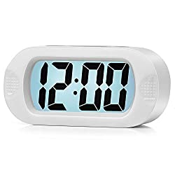Easy to Set, Plumeet Large Digital LCD Travel Alarm Clock with Snooze Good Night Light, Ascending Sound Alarm & Handheld Sized, Best Gift for Kids (White)