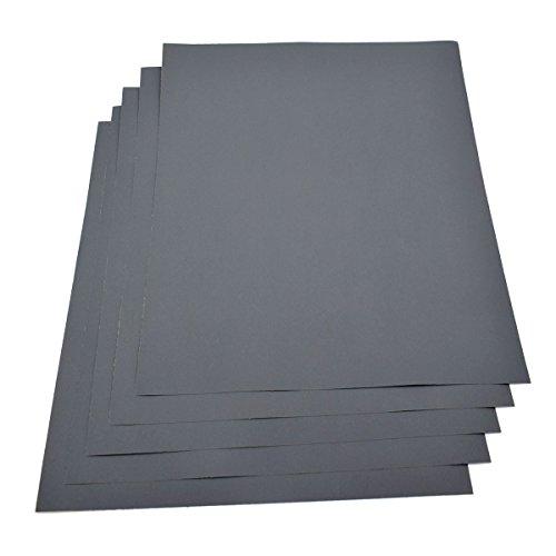 Lot de 5 feuilles de papier abrasif imperméable 230x 280mm - Grain 1500humide/sec en carbure de silicium