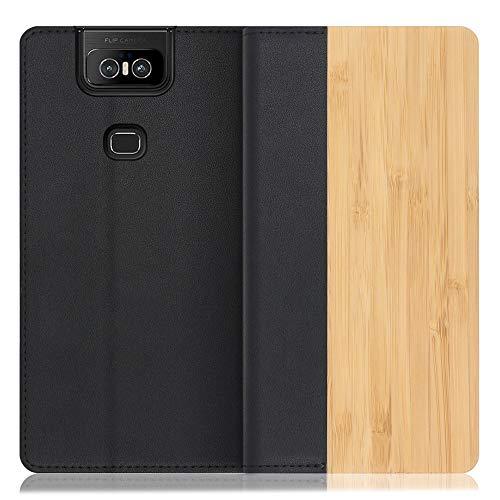 LOOF Nature ZenFone 6 / ZS630KL ケース 手帳型 カバー 本革 天然木 ベルト無し ウッド 木製 木 カード収納 カードポケット 本革 高級 スタンド機能 手帳型ケース スマホケース (竹)