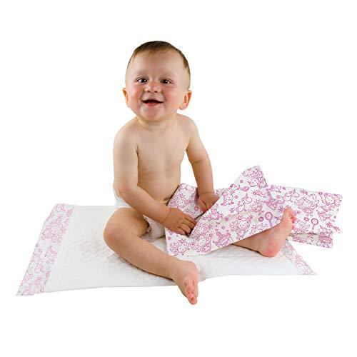Cambiadores desechables Teqler: indispensables para el cambio de pañales durante salidas o viajes, con diferentes estampados infantiles, higiénicos y extra-absorbentes 40 x 60 cm (caja de 50 uds.)