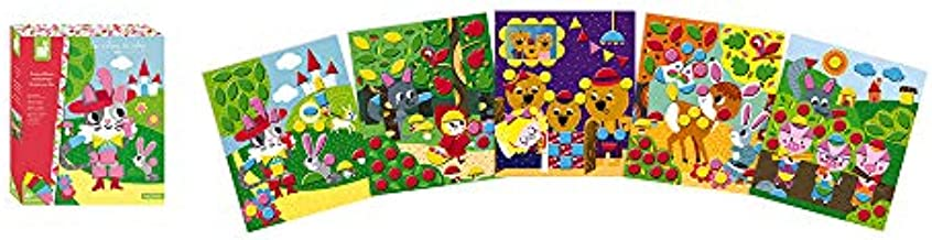Janod Crafts – No Mess No Glue Foam My First Fairytale Felt Sticker Mosaic Picture Kit – Creative, Imaginative, Inventive, and Developmental Play -- STEAM Approach to Learning – Ages 4-8+
