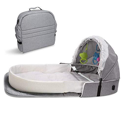 ZHFC Cama de bebé Plegable 4 en 1 Cuna portátil, Cama Infantil con toldo y mosquitera, Cuna portátil de Viaje Infantil Transpirable