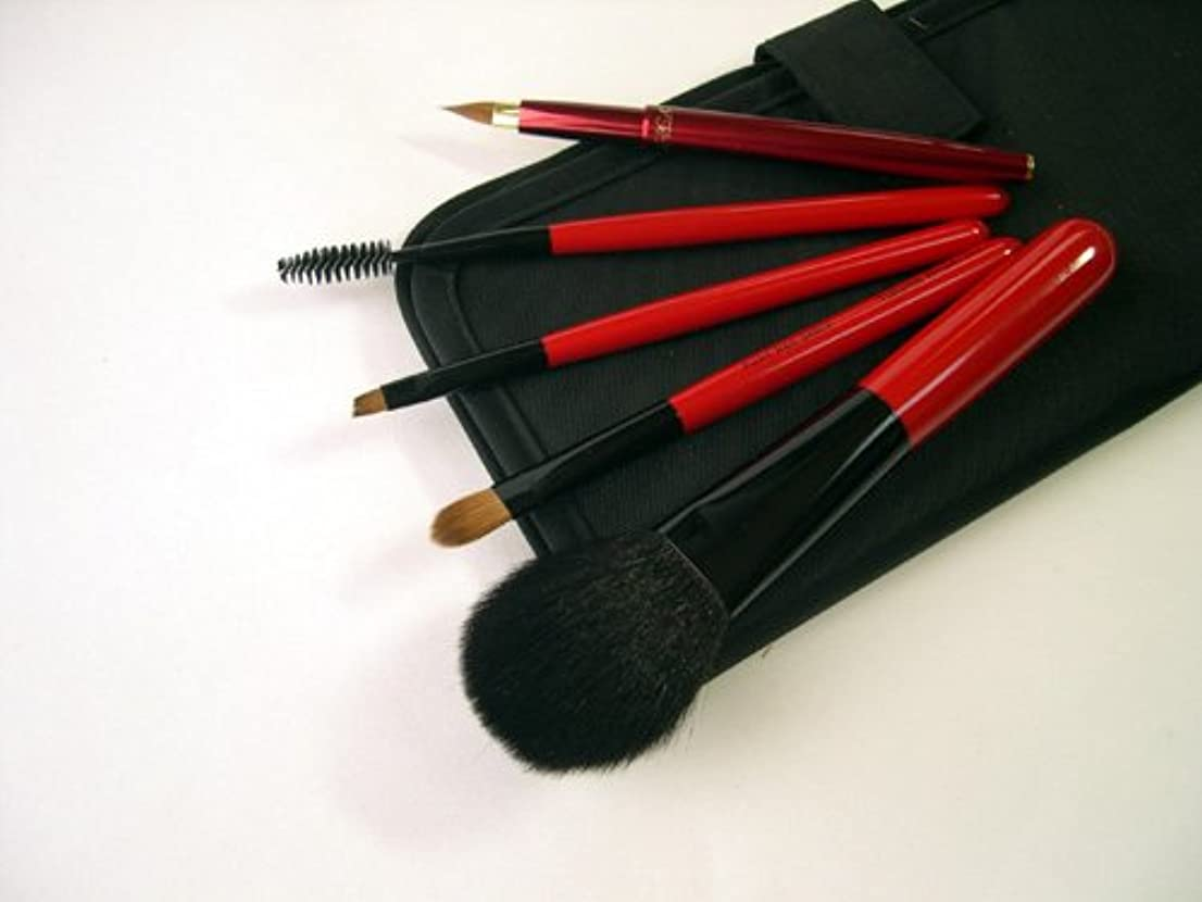 この騒乱調査竹田ブラシ製作所 赤椿化粧筆(赤塗木軸)5本セット 簡易ケース付