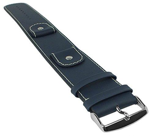 Minott Uhrenarmband Unterlagenband | Ersatzband in moderner gerader Form blau 32344, Stegbreite:18mm