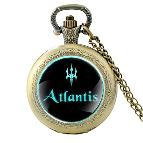 Reloj de bolsillo de cuarzo vintage de plata con encanto único Atlantis para hombres y mujeres, cúpula de cristal FOB colgante collar horas reloj