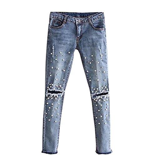 Loalirando Mujer Pantalones de Mezclilla Elásticos Vaqueros Cintura Alta Jeans Ajustados de Mujer con Perlas